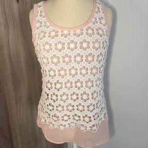 Blush Nude Lace Crochet Overlay Tank Top Medium